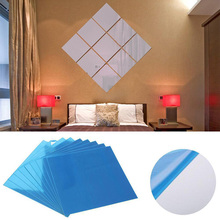 9/16 Pcs 15*15CM Self-Adhesive Tiles Mirror Wall Stickers Home Decoration Decal Square Suface Stick On Removable DIY