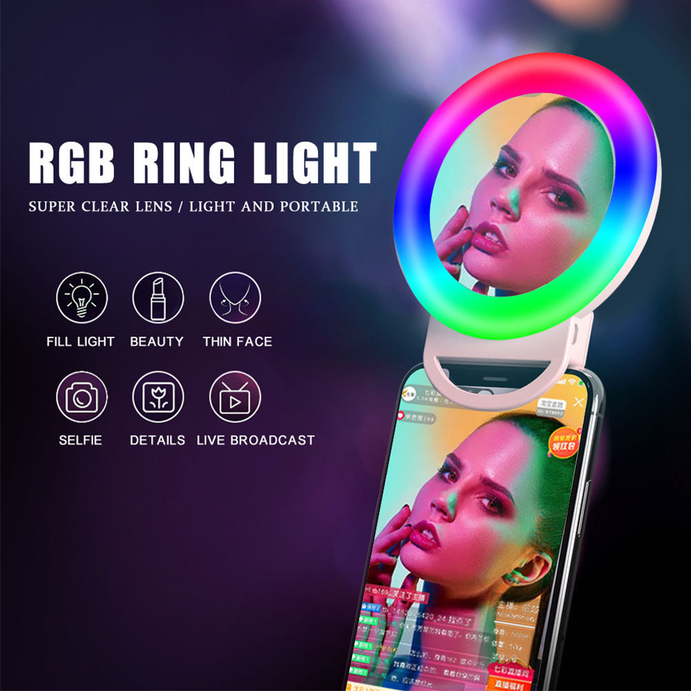 RGB LED Clip Selfie Ring Light Rechargeable Mobile Phone Makeup Mirror Fill Lamp Circle for Photography Live Broadcast