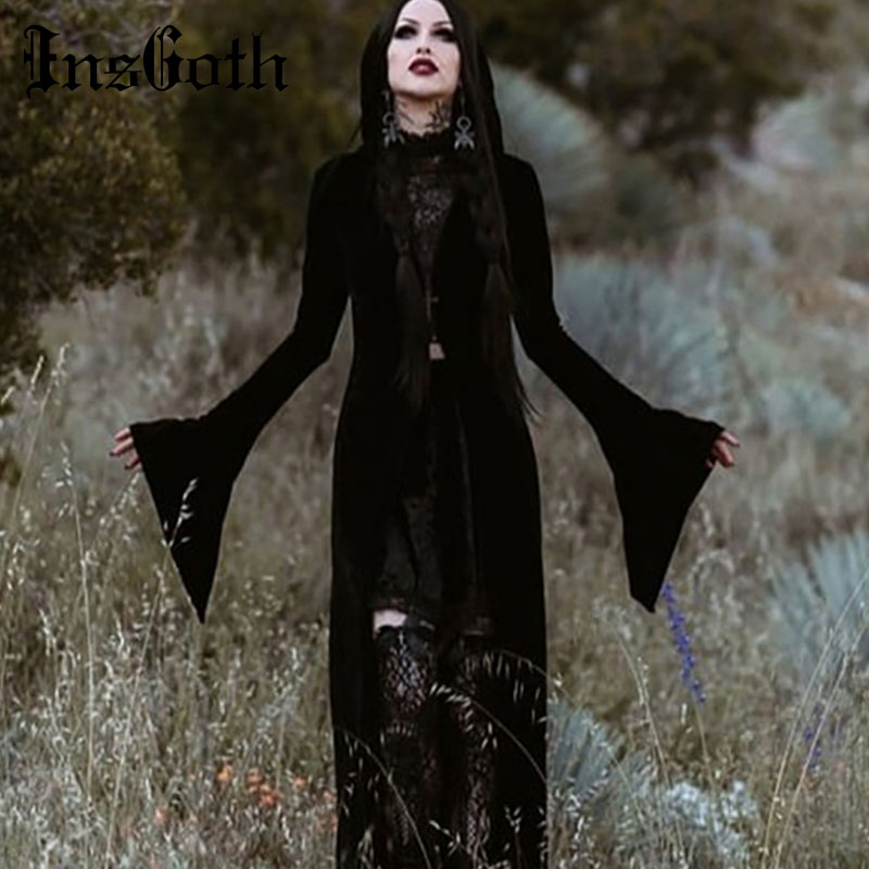 InsGoth Women Harajuku Gothic Coat   Trench   Cross Zipper Long Coat Goth Punk Outwear Female Flare Sleeve Party Hooded Overcoat