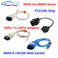 Для BMW INPA K + INPA с FT232RL диагностические кабели Разъемы для BMW 20Pin OBD2 Удлинительный кабель к 16Pin INPA K DCAN переключатель USB