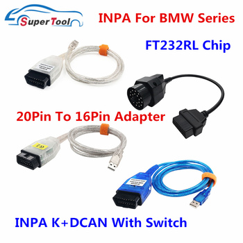For BMW INPA K+INPA With FT232RL Diagnostic Cables Connectors For BMW 20Pin OBD2 Extension Cable To 16Pin INPA K DCAN Switch USB image
