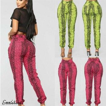 2020 Summer Women Snake Skin Pattern Pants Elastic Waist Pockets Ladies Casual Streetwear Fashion Pencil Pants Trousers Mujer animal pattern elastic waist trousers
