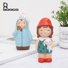 Roogo Resin Doll Miniature Figurines Cute Animal Home Decoration Accessories Creative Gift for Kids Mini Ornaments Decor