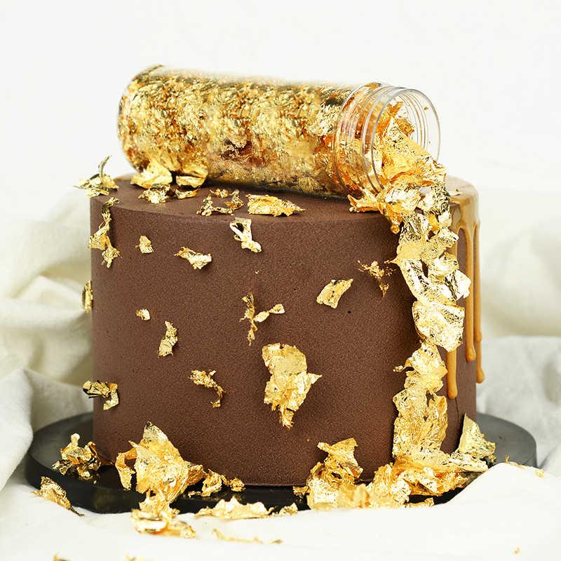 1 Pcs Edible Grade Asli Daun Emas Schabin Serpih 2G 3G Emas 24K Dekoratif Hidangan Chef Seni kue Dekorasi Alat Cokelat