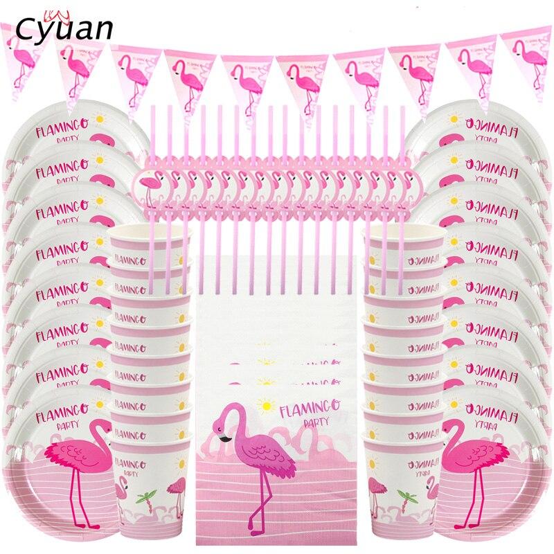 Cyuan фламинго, праздничный декор, Розовый фламинго, бумажные тарелки, чашки, салфетки, Летний Пляжный бассейн, вечеринки, сувениры, украшение ...