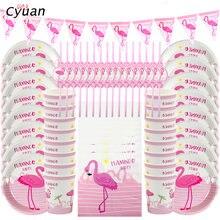 Cyuan flamingo decoração da festa, rosa flamingo, papel, copo, guardanapos, verão, praia, festa de aniversário, crianças