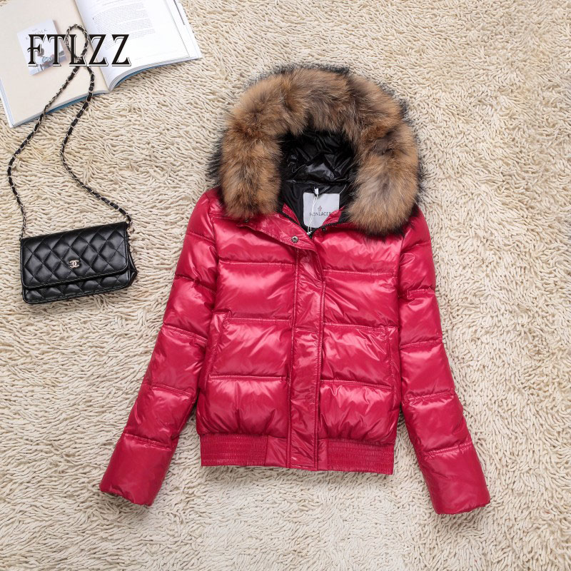 Winter Short Down Jacket 2019 New Women Hooded Hats Real Fur Collar Slim White Duck Down Coats Female Basic Warm Snow Parkas