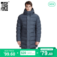 TIGER FORCE 2020 New Men's Winter Jacket Dark gray long Thic