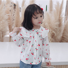 Small Children's Little Cherry Printed Blouse Toddler Kids Long Sleeve Casual Shirts For Girls Clothes Fashion Cotton Blusa Niña girls plaid blouse 2019 spring autumn turn down collar teenager shirts cotton shirts casual clothes child kids long sleeve 4 13t
