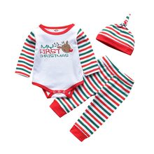 Festival-wear Costume Party-wear Clothes Christmas Newborn Kids Baby Girls Boys Letter Outfits Clothes 3pcs Romper+pants+hat Set(China)