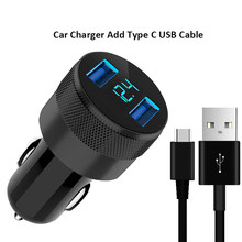 LED Display Mobil Charger Dual USB 3.1 Pengisian Mobil Charger TYPE C MICRO Kabel untuk Galaxy S6 S7 Edge s8 S9 S10 Plus A30 A50 A70(China)