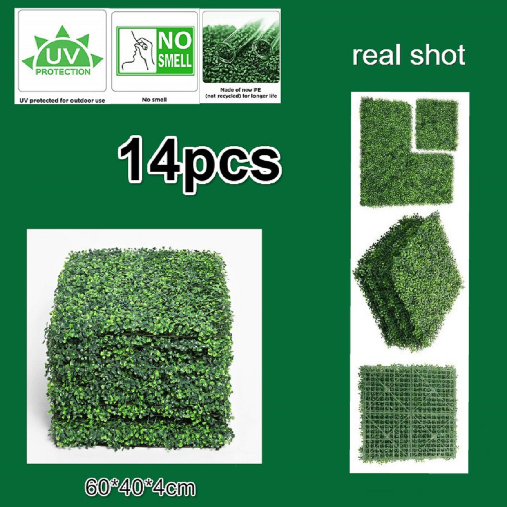 14pcs 40 60cmoutdoor Artificial Hedge Privacy Fence Grass Mat