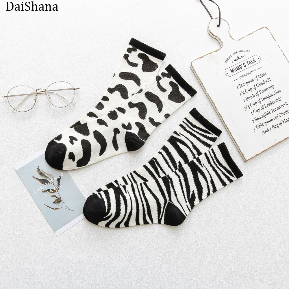 Harajuku New Kawaii Cute Socks Women Dairy Zebra Pattern Soft Breathable Cotton Socks Ankle-High Casual Comfy Socks Fashion St