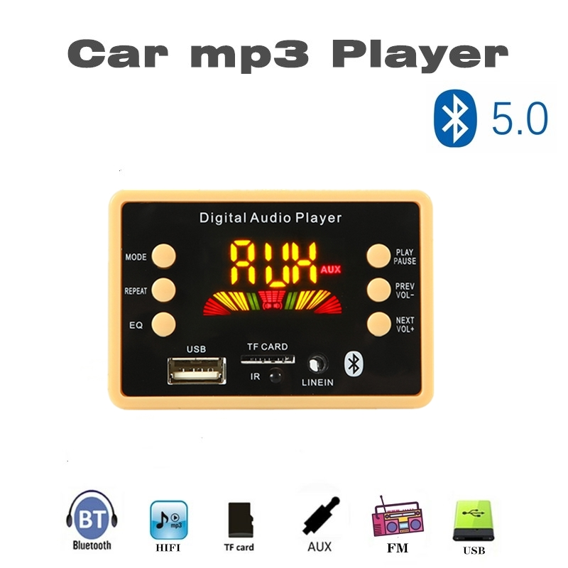 12V Color Screen Bluetooth 5.0 Car MP3 Bluetooth Decoder Board Can Play Lossless Format Audio, Folder Playback With FM USB TF