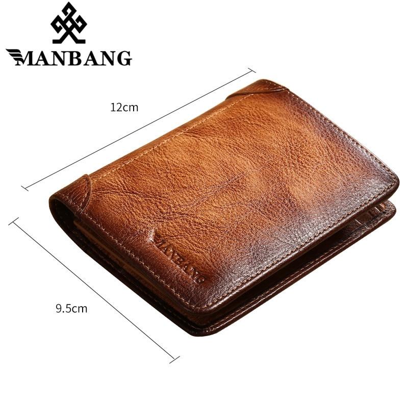 ManBang Male Genuine Leather Wallets Men Wallet Credit Business Card Holders Vintage Brown Leather Wallet Purses High Quality 4