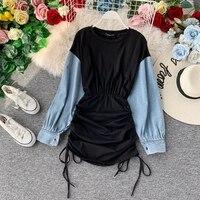 2019 new fashion women's Autumn denim long sleeve stitching high waist dress sexy dress