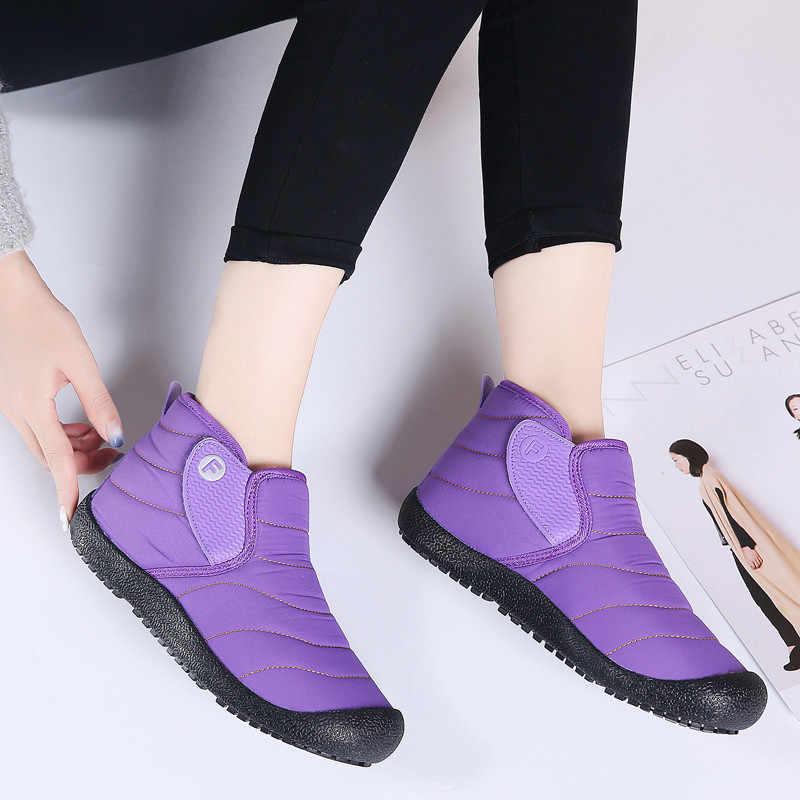 PINSEN 2019 Moda Kadın Kış Çizmeler Rahat Su Geçirmez Sıcak Peluş Ayak Bileği Kar Botları Slip-on Bayanlar Botas Mujer