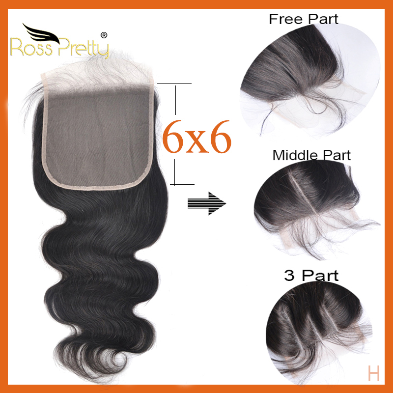 Closure Body Wave 6*6 Swiss Transparent Lace Closure 22inch 24