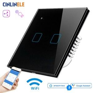 Image 1 - Przełącznik do montażu ściennego WIFI Touch czarne szkło Panel niebieski LED EU i UK uniwersalny inteligentny dom sterowane telefonem 2 Gang 2 Way 90 240V Square