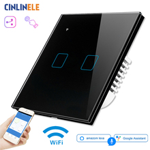 WIFI táctil luz interruptor de pared de vidrio negro Panel LED azul para la UE y el Reino Unido Universal de casa inteligente de teléfono de Control de 2 2 90 240V cuadrado