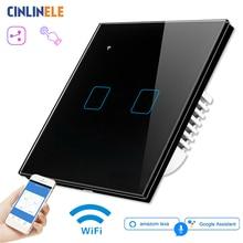 Wifi Touch Light Wall Switch Zwart Glas Panel Blauwe Led Eu & Uk Universele Smart Home Telefoon Controle 2 Gang 2 Manier 90 240V Vierkante