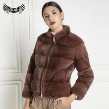 Fashion Short Genuine Mink Fur Jacket Women Stand Collar With Zipper Winter Warm Real Mink Fur Coats Woman Outwear High Qualuity