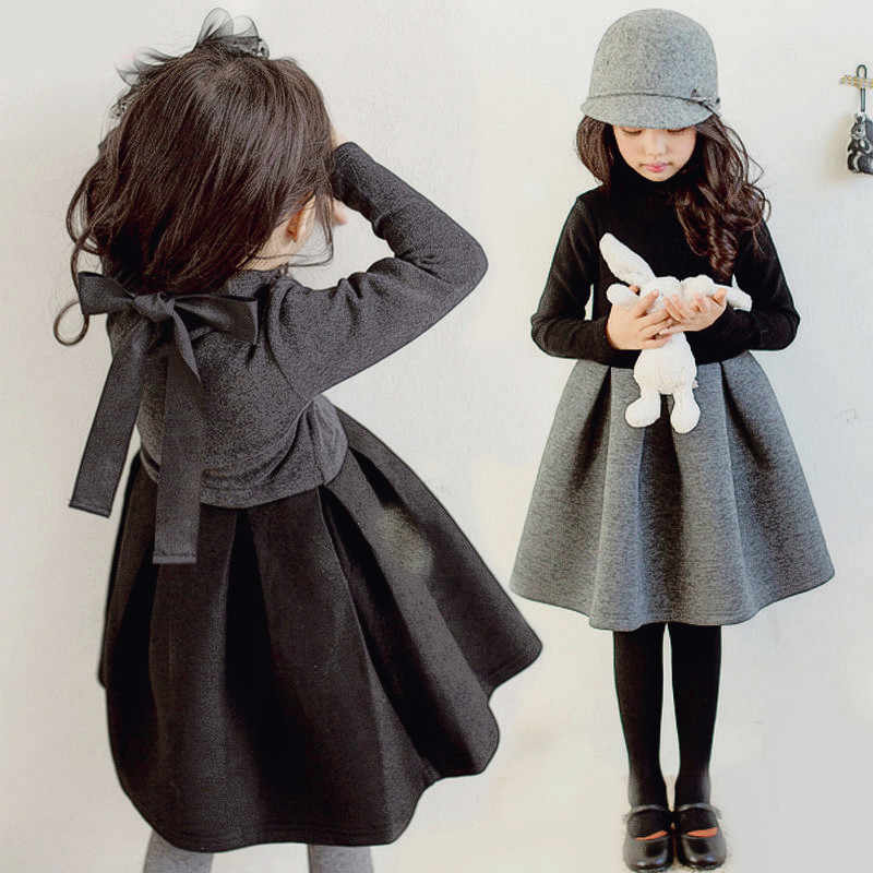 Girl Winter Long Sleeve Dress 2019 Toddler Teen Girl Autumn Fall Velvet Black Kids Tutu Dress 3 To 14 Year Halloween Turtleneck