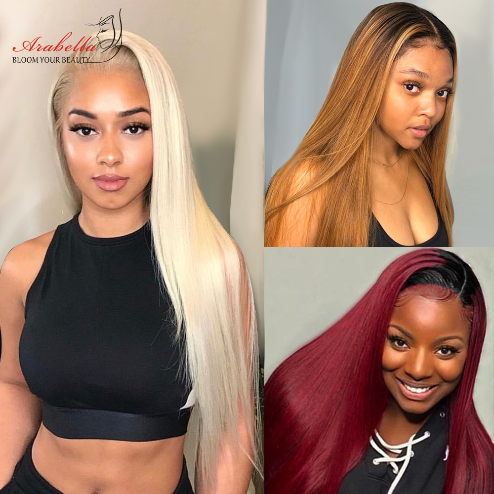 613 Lace Frontal Wig 100%  Wigs Arabella Long Straight Wig Pre Plucked 13x4   Blonde Bob Lace Front Wig 2