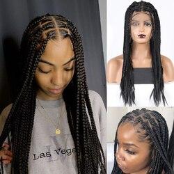 Charisma 13X6 partie profonde dentelle perruques longue boîte tressée perruque avec des cheveux de bébé partie moyenne synthétique dentelle avant perruque pour les femmes noires