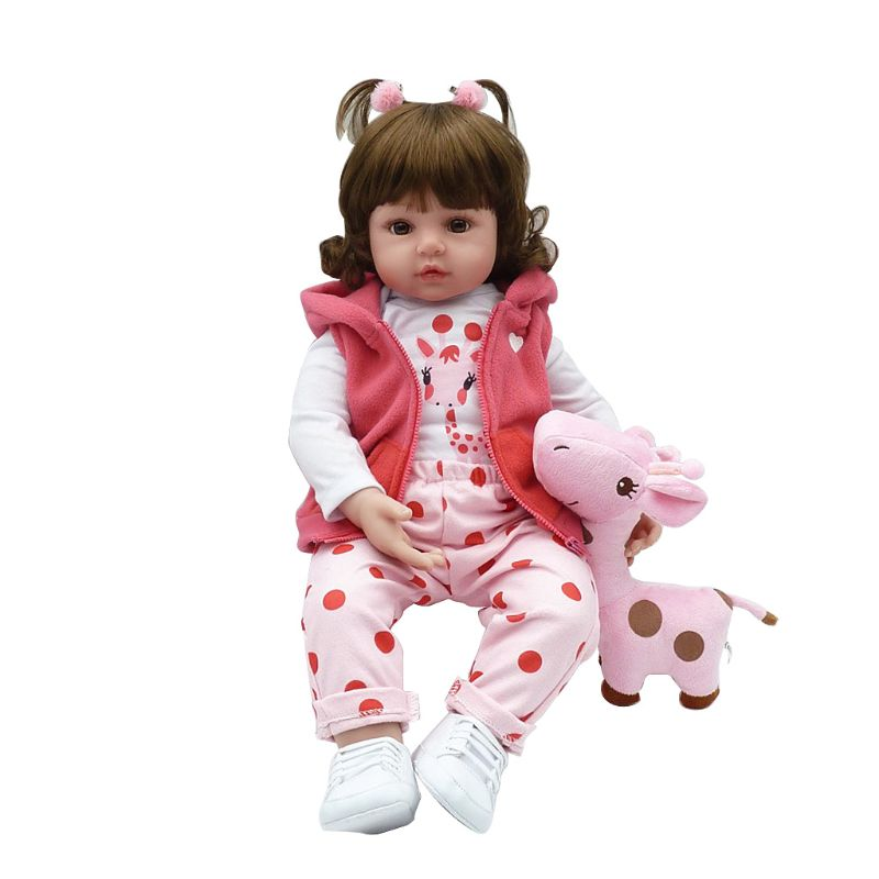 <font><b>24inch</b></font> Silicon Lifelike Doll White Cartoon Clothes Pink Pants Coat Hat Shoes Deer Early Childhood Kids Baby Toys image