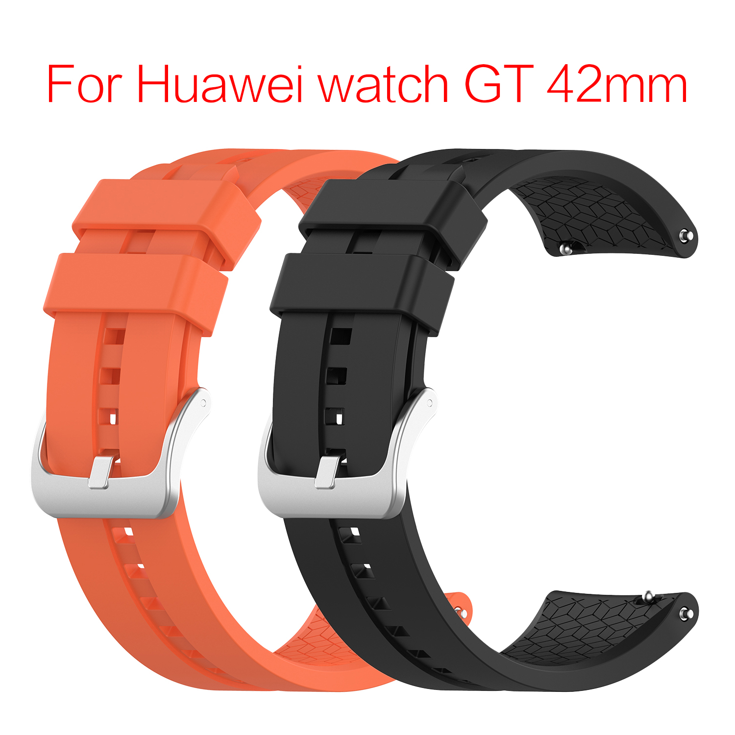 Universal Display Width 20MM Wristband Replacement Watch SmartWatch Accessories For Huawei Watch GT 42mm Official Silicone Strap