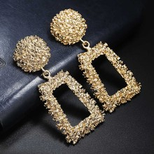 Ladies Vintage Big Metal Earrings Geometric Statement 2019 Ears Hanging Fashion Jewelry Gifts Wholesale