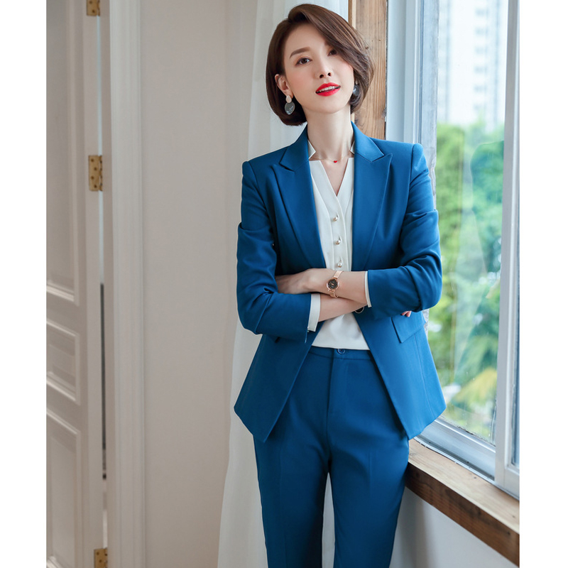 Business Blue Jacket Female Fashion Temperament Host Suit High Quality Office Women's Suit Large Size 2019 Autumn New Pants Set