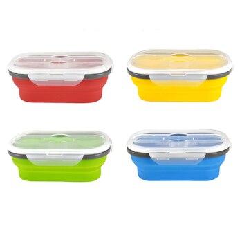 1 Uds fiambrera de silicona, Bol plegable, contenedor de comida portátil, contenedor ecológico para niños, escuela, Cocina, Cocina, hogar