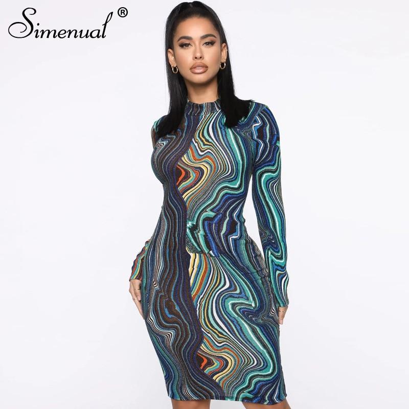 Simenual Print Skinny Fashion Mini Dress Women Long Sleeve Bodycon Casual Party Dresses Spring 2020 Clubwear Tie Dye Slim Dress