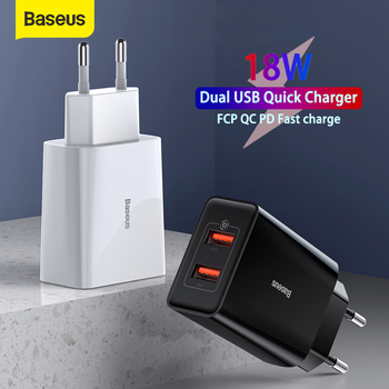 Baseus 18W USB Charger Support Fast Charge Type-C PD QC Dual USB Quick Charger Adapter Portable Wall Charger For Huawei Xiaomi