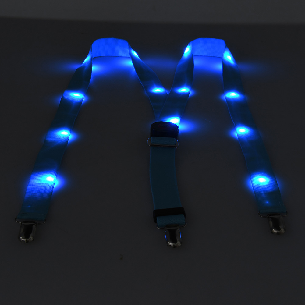 LED Glow Light Up Suspenders Adjustable Elastic Outdoor Sports Warning Chest Strap NIN668