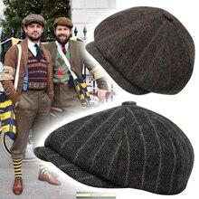 Мужские Восьмиугольные шляпы в британском стиле, Зимняя шерстяная шляпа Гэтсби, кепка плюща, Кепка для гольфа, для вождения, осенняя Женская плоская кепка-газетчик, s BLM10