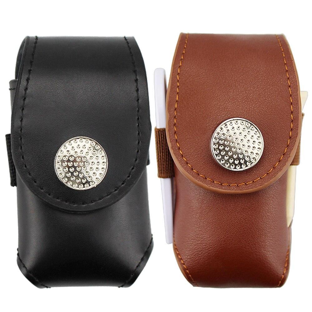 Golf Ball Bag Mini Portable Leather Clip On Golf Ball Holder Pouch Bag Hold 2 Ball Golfer Aid Tool Gift Black