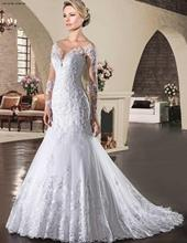 Long Sleeves Mermaid Wedding Dresses with Unique Lace Appliques Bridal Dress