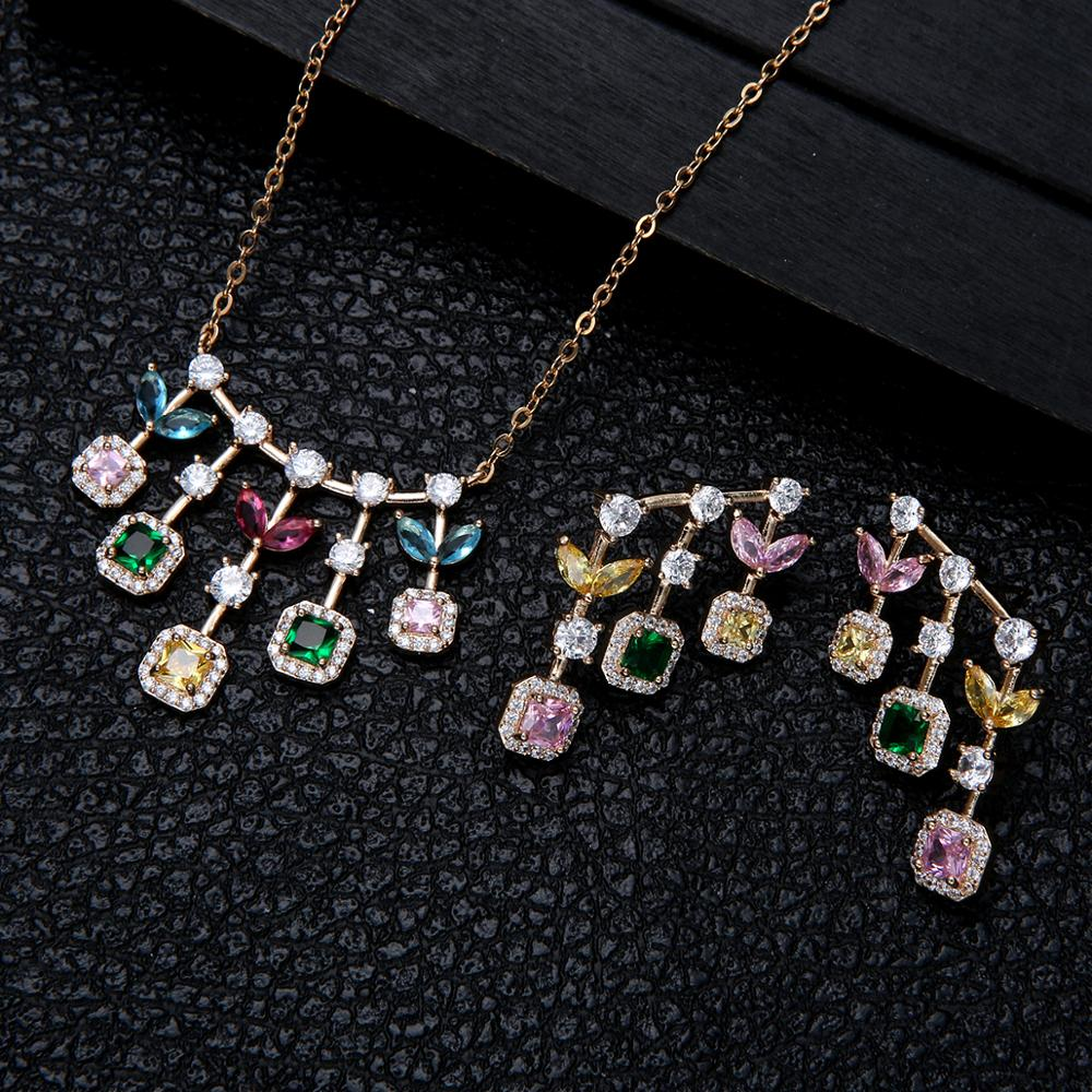New design luxury AAA zircon round flower shape Earrings necklace set for women,high quality party/Wedding jewelry sets D1440