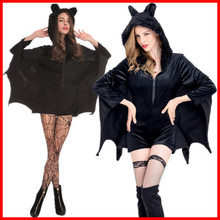 Halloween female cosplay vampire bat costume party role playing Batman jumpsuit hoodie Bat woman Stocking Black