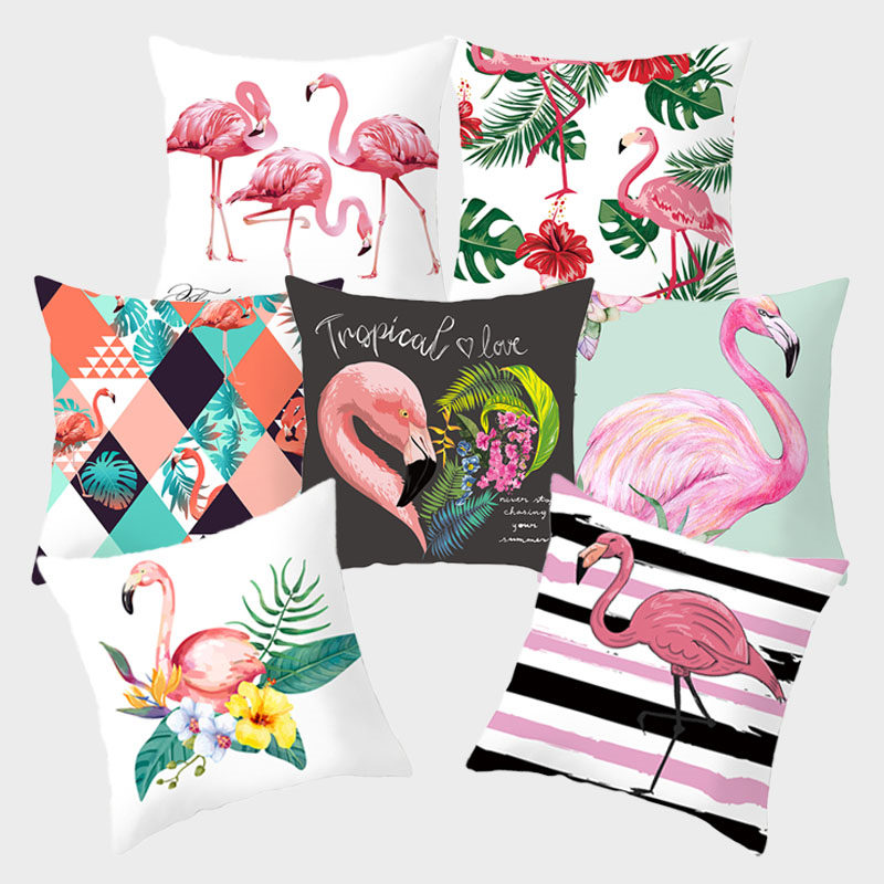 Flamingo Pink Decorative Pillows Tropical Plant Green Pillow Cushion Covers Polyester For Sofa Home Decoration Pillowcase
