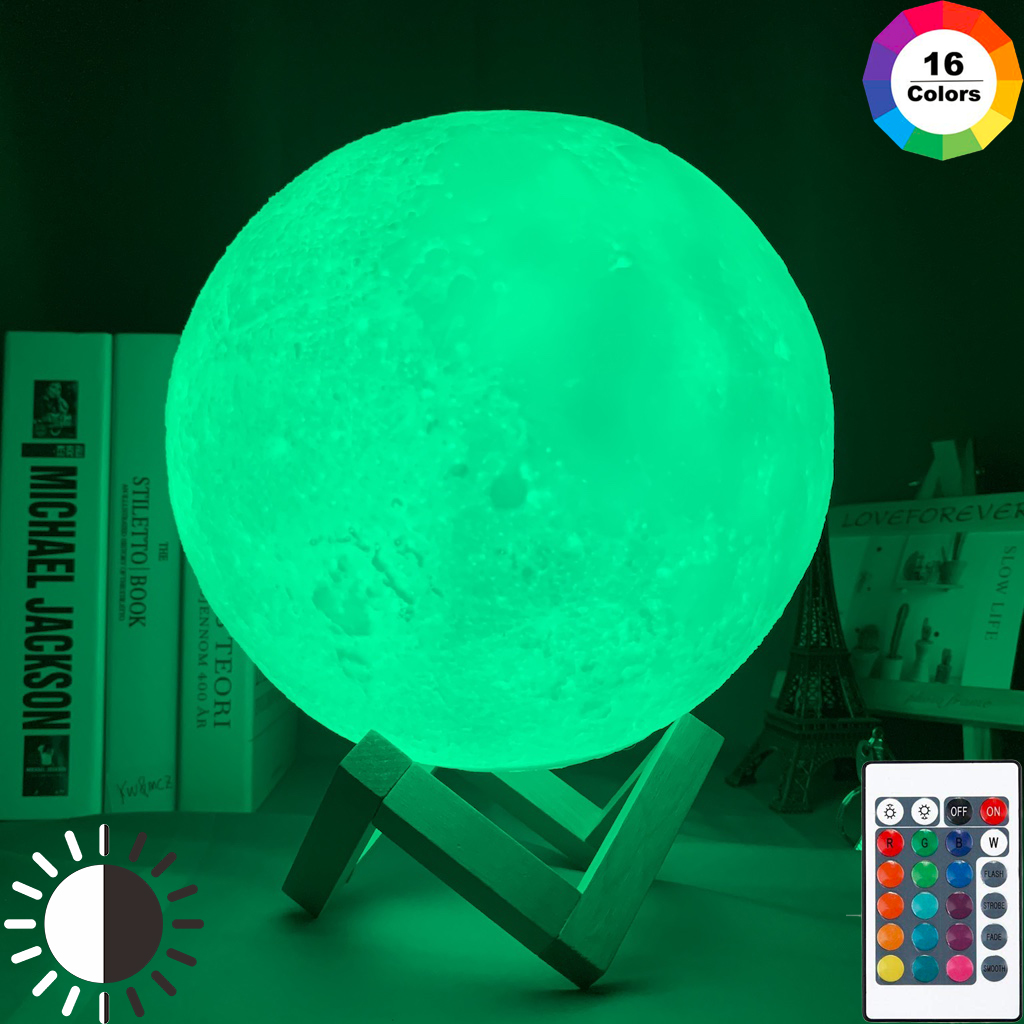 3D Print Moon Lamp for Bedroom Decor Light 16 Colo