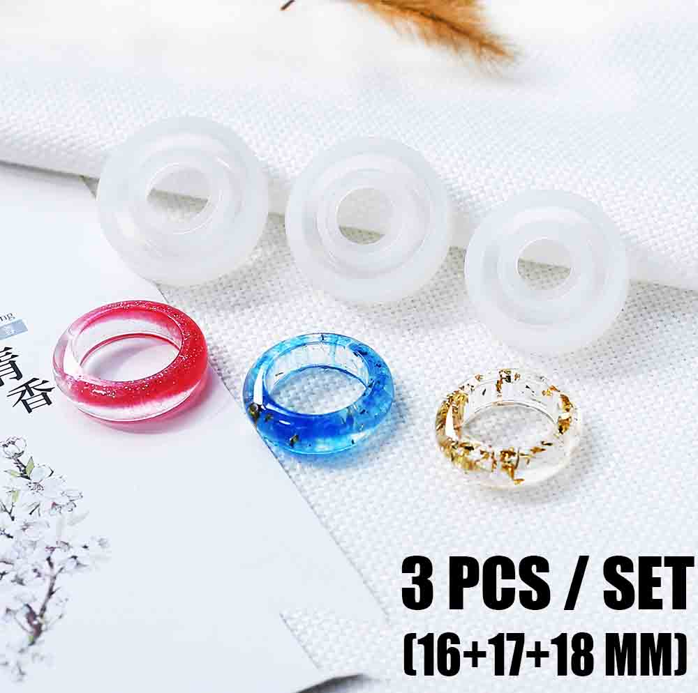 3Pcs/set Flexible Assorted Silicone Ring Mold For   DIY Jewelry Craft Making Tools Set DIY Ring UV Epoxy Resin Mould