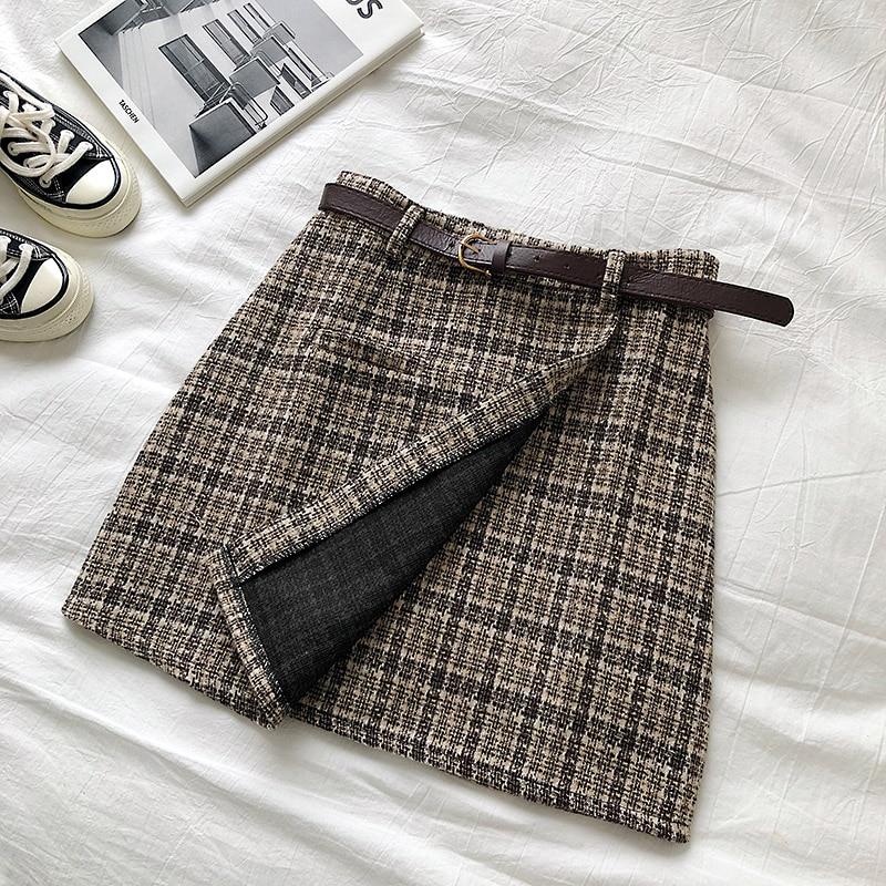 Vintage Women Plaid High Waist Mini Skirt 12