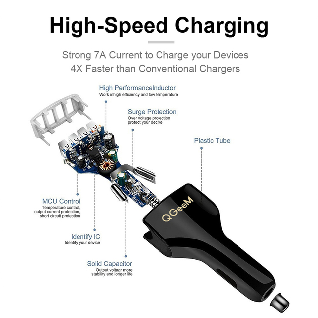 QGEEM Fast 4 USB Car Charger Quick Charge 3.0 Phone Car Charger QC 3.0 USB Auto Charge 4 Port Portable Charger for Xiaomi iPhone