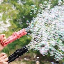 Kids Gatling Bubble Gun Toys Summer Automatic Soap Water Bubble Machine For Children Toddlers Indoor Outdoor Wedding Bubble