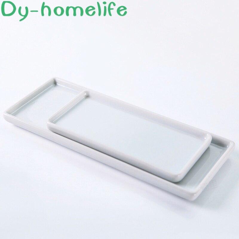 Japanese-style Rectangular Ceramic Tray Plate White Porcelain Rectangular Plate Mouthwash Cup Tray Bathroom Living Storage Tray