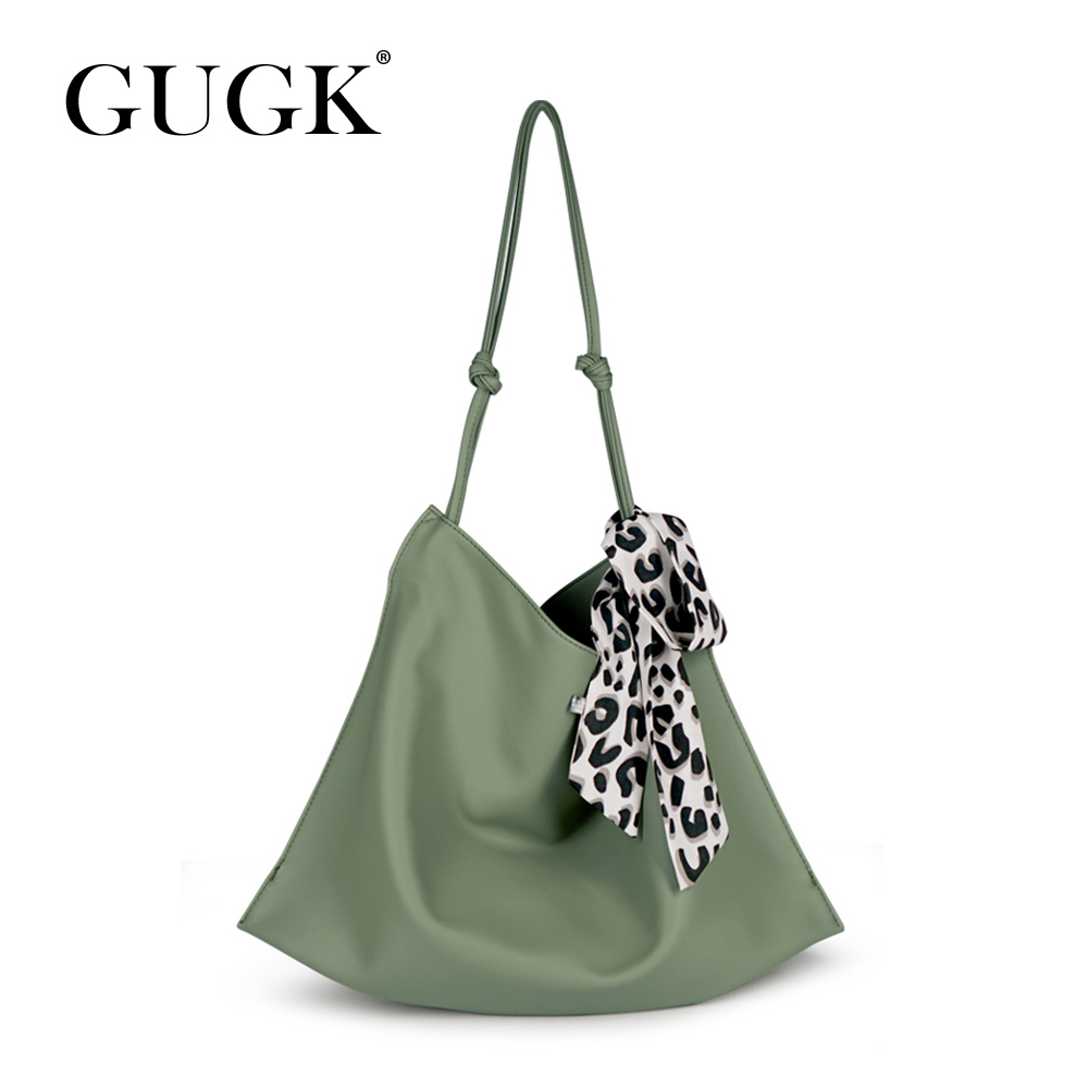 GUGK Dress Office Lady Handbags Woman Green Bow Decoration Single Shoulder Bags Ladies Big Capacity Shoulder GB108